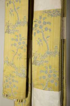 Two Pair of Silk Damask Drapes
