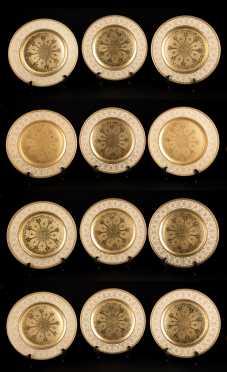 Set of 12 Bavarian Gold Plates