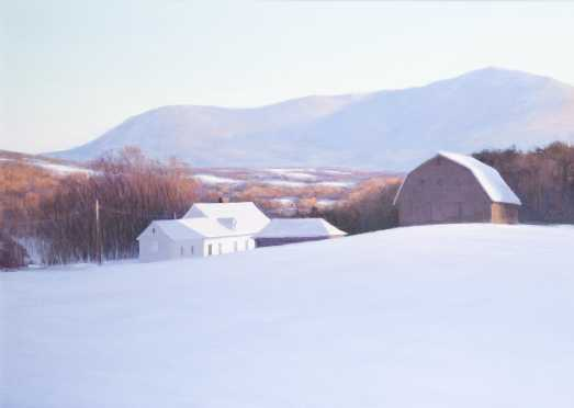 David Dodge, 20thC., Peterborough, NH., Oil on Canvas Painting of a winter farm scene with Mt Monadnock in the distance