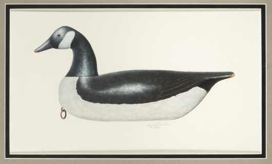 Bob Piscatori, 20thC., American., Oil on Paper Painting of Canadian Goose