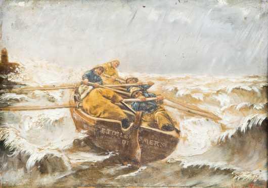 "School of Georges Jean Marie Haquette, (1854-1906) France, of ""Raging Sea"""