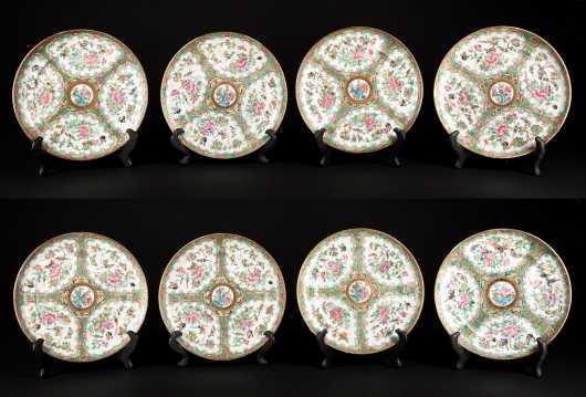 Eight Rose Medallion Dessert Plates
