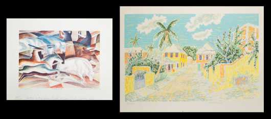 Stuart Frost (20thC) Pennsylvania, Sherman Winta (American?, 20thC): Two Pencil Signed Prints