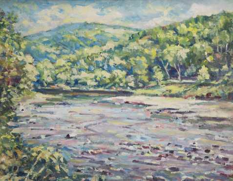 Arthur Gibbes Burton, Attributed (1883-1969), Vermont Oil on Artist Board Painting of a Vermont Landscape and River