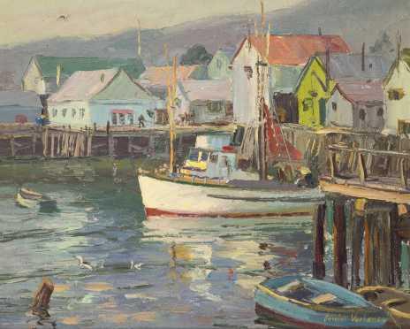 Carolus Verhaeven, Dutch/California (1908-1956), oil on Masonite of a Fish Pier with a Boat
