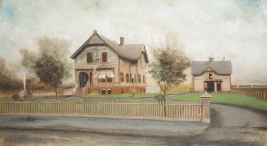 Pastel Drawing of House and Barn, signed lower left indistinctly