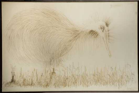 """Kathy Johnson, 20thC., American, Pencil Drawing of a """"Kiwi on paper signed lower right"""""""