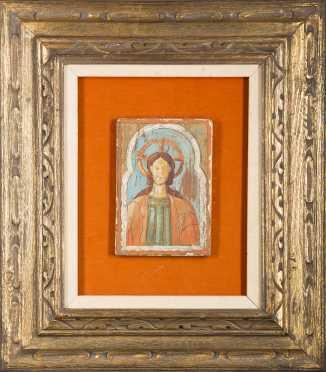 Spanish Icon Painting of Jesus Christ, oil on gessoe on wood