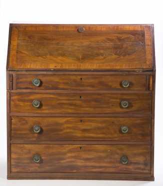 Mahogany and Mahogany Veneer Slant Front Desk