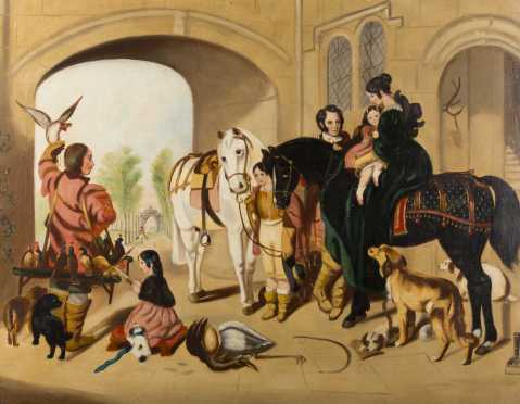Primitive English Painting, oil on canvas painting of a country manor house scene with horses and children