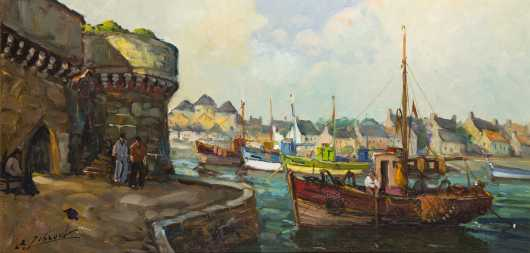 French Port Scene Painting