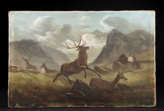 D.J. Gross, Philadelphia, 19th century, oil on canvas of running stag and mate