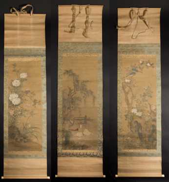 Boxed Set of Three Chinese Scroll Paintings