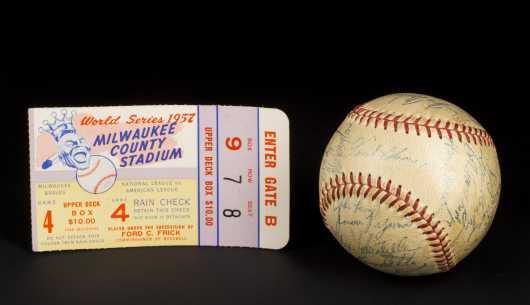 1957 Milwaukee Braves Signed Baseball