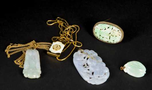 Jadeite and Nephrite Pendants and Pin