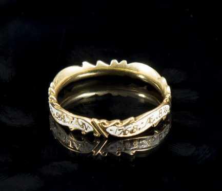 Yellow Gold and White Enamel Memorial Ring