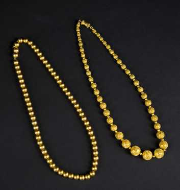 Two Sets of Yellow Gold Beads