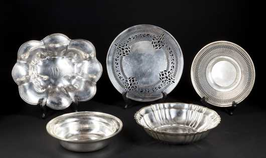 Five Sterling Silver Serving Dishes