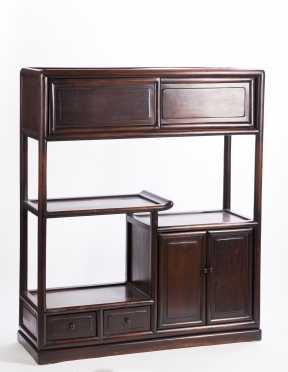 Japanese Hardwood Shelves and Cabinet