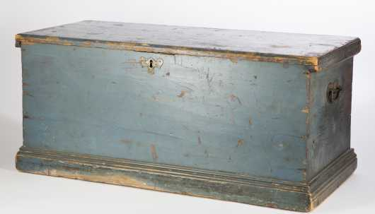 18thC. Blue Painted Sea Chest