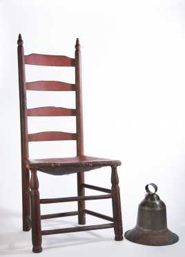 Red Painted Ladderback Chair and Tin Bell