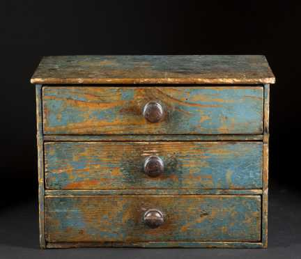 Blue Painted Three Drawer Childs Chest