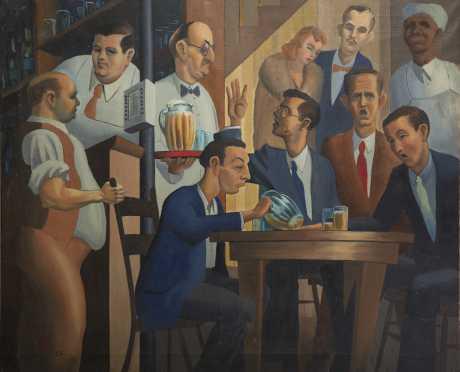 "Oil on Canvas ""Pub Scene"""