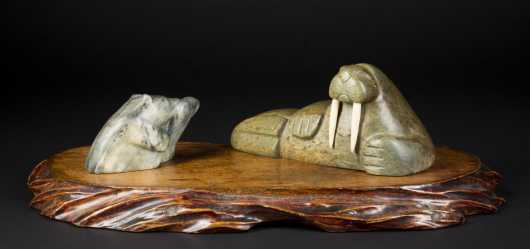 Two Inuit Carved Soapstone Animals