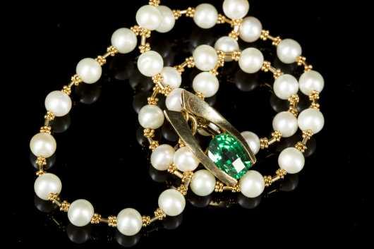 Tourmaline Pendant & Pearl Necklace