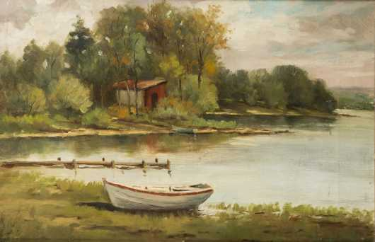 NH/MA Lake Painting, oil on canvs painting of a row boat, dock and cottage by a lake, unsigned