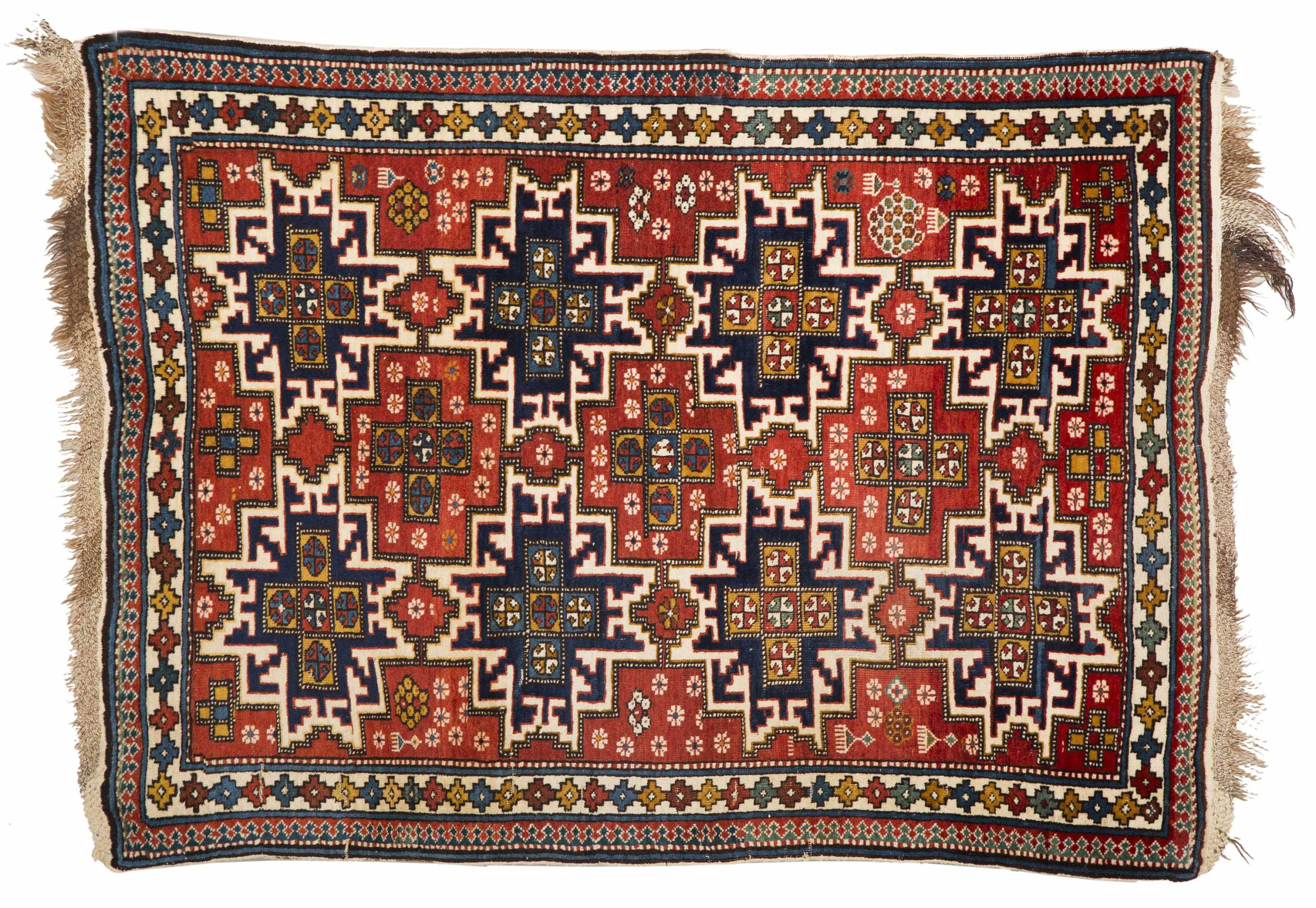 Lesghi Star Scatter Rug Depicting 4 Pairs Of Stars On A Red Ground
