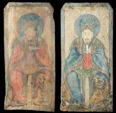 Two Chinese Emporer Paintings on Panel