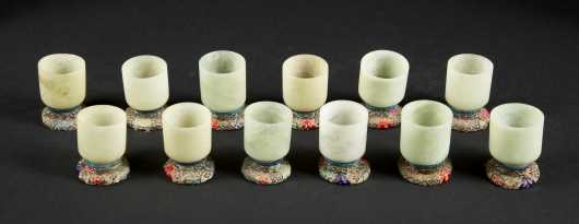 Jadeite cups, a boxed set of 12