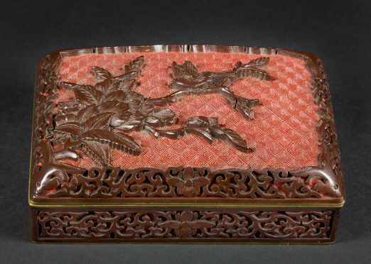Chinese Cinnebar Carved Box