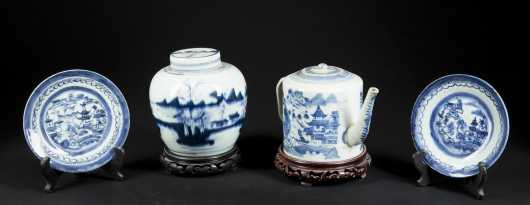 Canton China, 4 pc blue and white