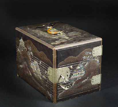 Japanese Mother of Pearl and Lacquer Decorated Box