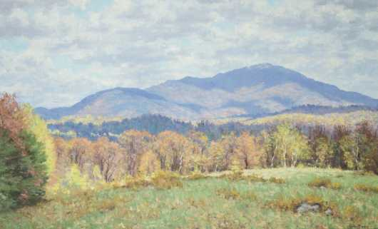 Richard Whitney (1945- ) NH, VT, Oil on Canvas Painting of Mount Monadnock