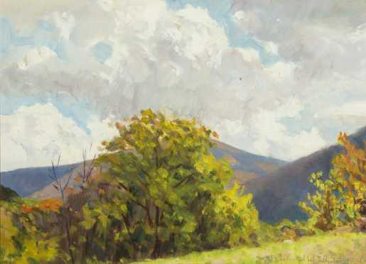 Richard Whitney, Oil on Artist Board Painting of Mount Greylock