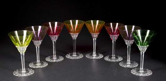 Eight Baccarat Martini Glasses