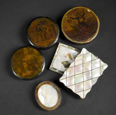 Five Snuff Boxes & Card Cases