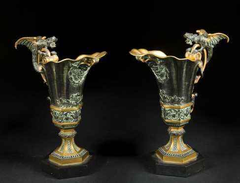 Pair of Bronze Garnitures