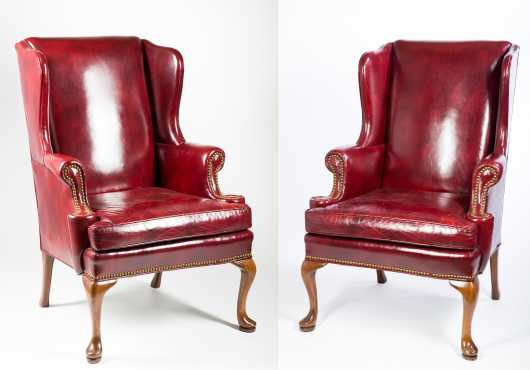 Pair of leather Queen Ann Style arm chairs