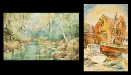 Two American Signed Watercolors on Paper