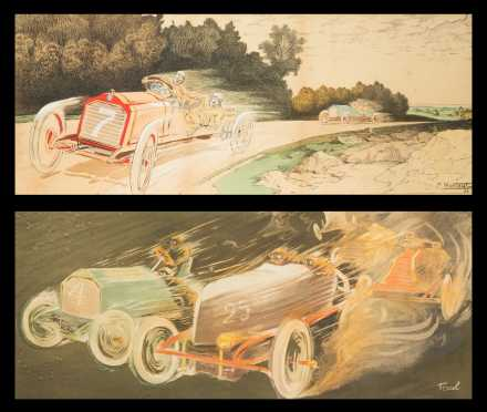Two French Auto Racing Prints
