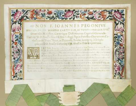 Indulgence, Document on Vellum with Gold Lettering, 1675