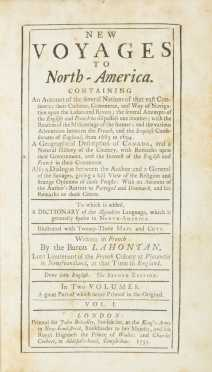 New Voyages to North America by Baron Lahontan (London, 1735), 2 vols. Second printing
