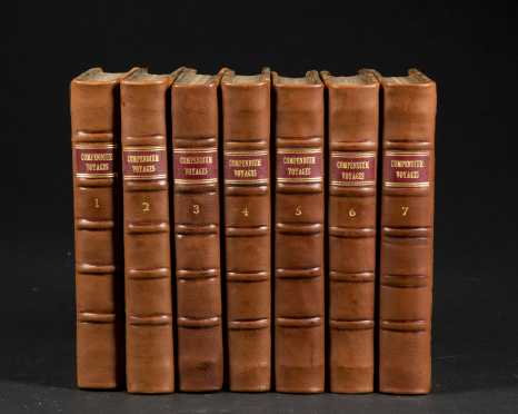 """""""A Compendium of Authentic and Entertaining Voyages Digested in a Chronological Series,"""" 7 volumes"""