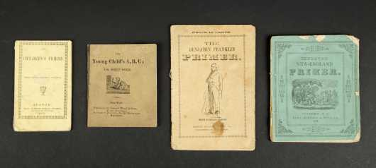 """Four Chapbooks:""""Benjamin Franklin's Primer,"""" 1844; """"Improved New England Primer,"""" 1841; """"The Childre's Friend,"""" 1844; """"Young Child's A,B,C."""