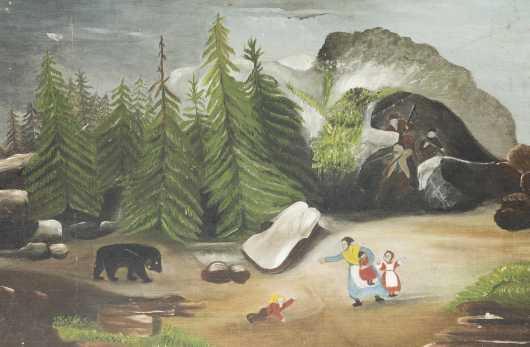 Primitive Painting Bear/Hunters