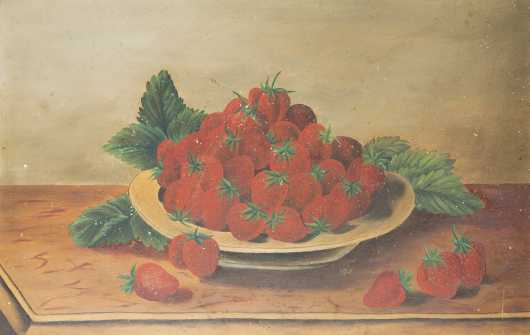 Primitive Painting -Bowl of Strawberries, Oil on Artist Board